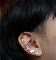 Wholesale Clip Earrings Star - Fashion Silver Gold Five Star No Ear Ear Clip Earrings Stud Earrings Pentagram Cuff Jewelry Ear Bones Piercing Jewelry ZS