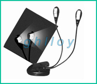 Wholesale Led Dual Book Light - Book Light Clip Dual 2 Arm 4 LED Flexible Stand Laptop Lamp LED Book Light,Read Light 20pcs lot