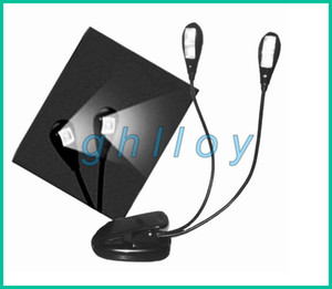 Book Light Clip Dual 2 Arm 4 LED Flexible Stand Laptop Lamp LED Book Light,Read Light 20pcs lot