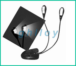 Wholesale Dual Arms Led - Book Light Clip Dual 2 Arm 4 LED Flexible Stand Laptop Lamp LED Book Light,Read Light 20pcs lot