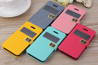 Wholesale Cover Protection For Galaxy S4 - D Protection Metal Buckle Word Wallet View open window Leather Case Cover For iPhone 5 5C 5S 4 4S Samsung Galaxy S3 S4 Note 2 S7562