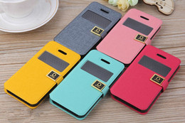 Wholesale Galaxy S3 Protection - D Protection Metal Buckle Word Wallet View open window Leather Case Cover For iPhone 5 5C 5S 4 4S Samsung Galaxy S3 S4 Note 2 S7562