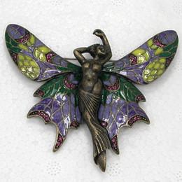 Spille fiabesche online-12pcs / lot Rhinestone di cristallo all'ingrosso spilla smaltatura fata angelo farfalla pin spilla regalo gioielli c877