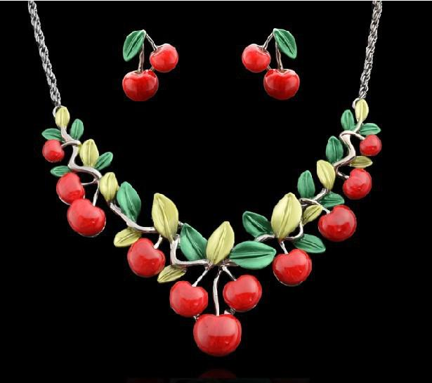 New arrival brand very lovely cherry party jewelry sets fashion costume necklace and earrings sets for women