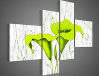 hand- painted green flowers in white background wall art deco...