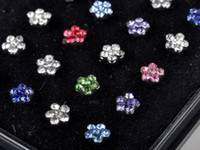 Wholesale Assorted Piercing Rings - Brand New Multicolor Nose Studs 24pcs Assorted Colors FLOWER CLUSTER Body Piercing Jewelry With display [NS3*1]