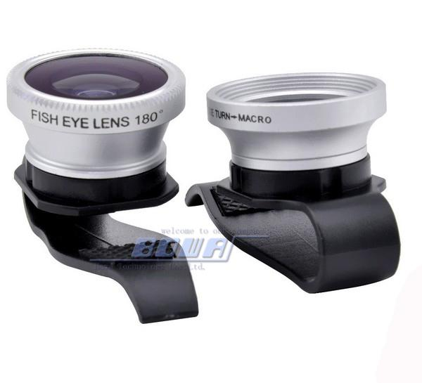 50pcs Clip 3 in 1 180 Degree Fisheye Fish Eye + Wide Angle + Macro Clip lens for iPad air iPhone 6 5S 5C ipad 4S Galaxy Note 4