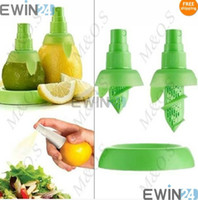 Wholesale Lemon Squeezer Free Shipping - 2 In1 Hand Held LEMON Lime Citrus Sprayer Tray Orange Fruit Juice Spray Squeezer Kitchen Tool Free shipping 400pcs =200 sets Free shipping
