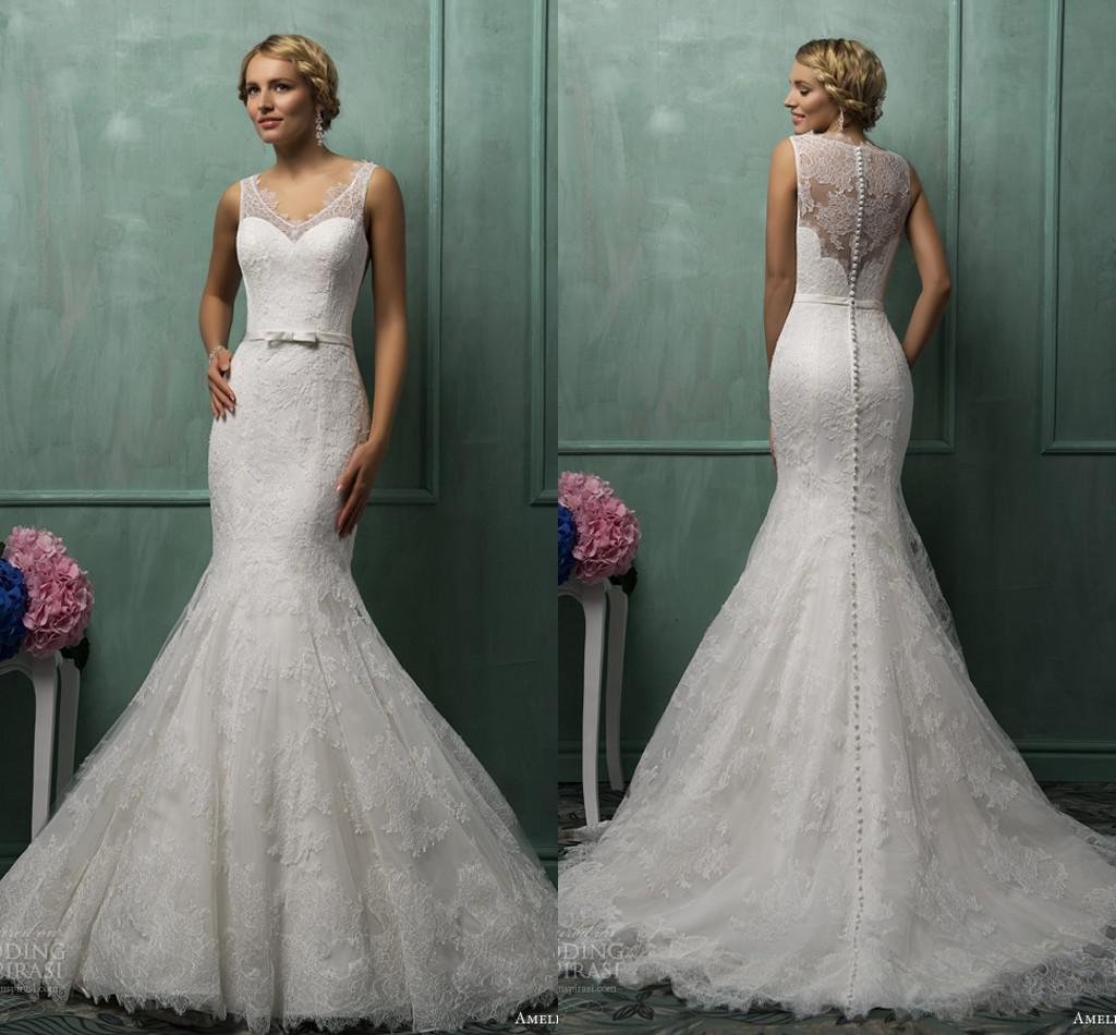 2014 Vintage Mermaid Wedding Dresses Lace V Neck Illusion