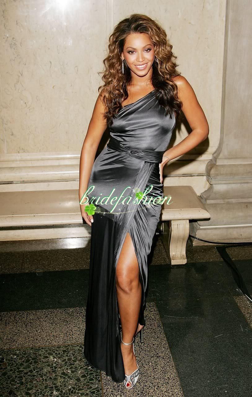 2014 vestidos Sexy Unique One shoulder Silver Taffeta Side Split Beyonce Dresses Celebrity Red Carpet Dressese