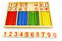 montessori malzemeleri toptan satış-Montessori Ahşap Numarası Matematik Oyunu Sticks Kutusu Eğitici Oyuncak Bulmaca Öğretim Yardımcıları Set Malzemeleri