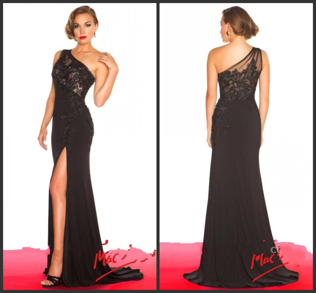 New Hot Elegant Lace Front Slit One Shoulder Mermaid Sweep Train ...