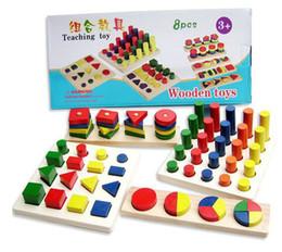 Nuovo arrivo giocattolo educativo in legno Montessori apprendimento precoce insegnamento colori e forme cognizione 8pcs un set da generatori di potenza all'ingrosso fornitori
