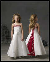 Wholesale Designing Embroidery Dresses - Design White Burgundy Spaghetti Strap Ankle Length A Line Flower Girls' Dresses Embroidery Girl's Pageant Gowns