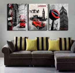 Wholesale London Wall Art - 3 Pieces Modern Wall Painting European architecture london red bus picture wall art oil Painting Home Decorative Art Picture Canvas Prints
