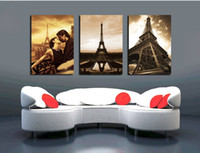 3 Pieces Modern Wall Painting Love in Paris picture wall art...