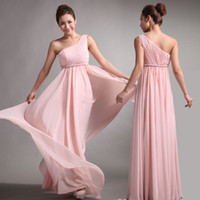 ingrosso vestito chiffon dalla spalla nuda-2014 abiti da damigella d'onore dolce principessa stile greco Dea One-spalla nude vestito da partito rosa pieghe sconto abiti da ballo
