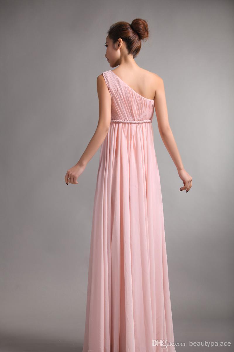 Brudtärna klänningar söt prinsessa grekisk stil gudinna en-axel bara rosa party klänning pläter rabatt prom klänningar