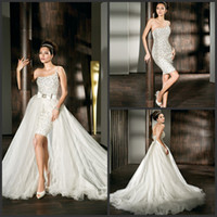 Mantel Brautkleider 2014 Frühlings-One-Shoulder Short Backless Brautkleider Perlen Kristalle Bow Removable Chapelt Zug Kleid Organza-Kleid