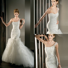 Wholesale Hang Drapes - Mermaid Wedding Dresses 2014 Spring One-Shoulder Backless Chapel Train Bridal Gowns Beads Hang Made Flowers Applique Dress Organza Sexy Gown