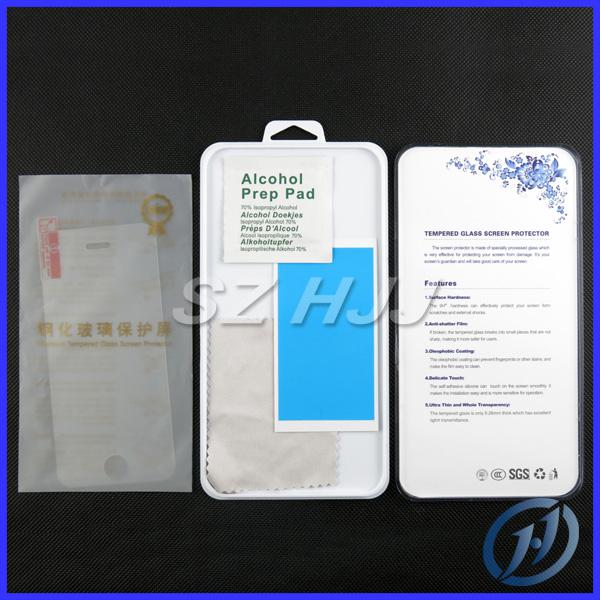 0.26mm iPhone 4 4G 4S 5 5G 5C 5S di alta qualità infrangibile temperato temperato protezione dello schermo in vetro con il pacchetto al dettaglio