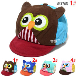 Wholesale Baby Boy Brim Hats - Unisex baby Children Owl Design Patchwork Visors Hats Kids Spring Autumn Soft Brim Visors Caps Cotton boy girls MZ1705