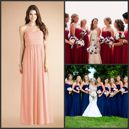 Wholesale Hot Bridemaid Dresses - 2015 Long Chiffon gown with Strapless Pleats Coral & Blue & Royal Blue Bridemaid dresses Hot sale Cheap Prom maid of honor dress