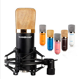 Wholesale Amplifier Voice Speaker - Pro audio Condenser Microphone For recording & Voice Amplifier Speaker Mike With mic cable+shockmount+foam in multi colors choice