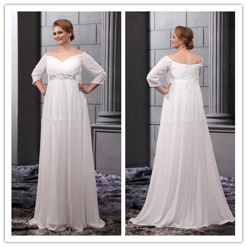 Qm Best Selling 2014 Wedding Dress For Fat Woman Elegant V Neck Half