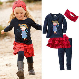 Wholesale Cotton Skirt Winter - Wholesale 2014 new spring summer Children's girls babys fashion Hair accessories + T-shirts+ pants + skirts Outfits & 4 Sets suit TT-028
