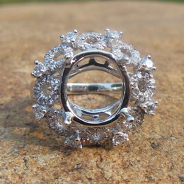 Wholesale Mounted Stone Set - Solid 14K White Gold Oval 9X11MM Fashion Semi Mount Ring   Diamond Ring
