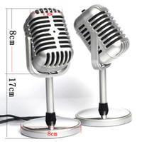 amplifikatör için mikrofonlar toptan satış-Gümüş Renkte Net Ses ile Ses Amplifikatör Hoparlör Mike Klasik Profesyonel Vokal Kablolu Mikrofon