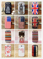 Wholesale Galaxy S3 Flag - Fashion Hard Plastic Phone Case Lovely Girl USA UK Flag Plastic Hard Back Cover Case Shell Protective Skin For Samsung Galaxy S3 9300 200pcs