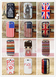 Wholesale Galaxy S3 Phone Skin Cover - Fashion Hard Plastic Phone Case Lovely Girl USA UK Flag Plastic Hard Back Cover Case Shell Protective Skin For Samsung Galaxy S3 9300 200pcs