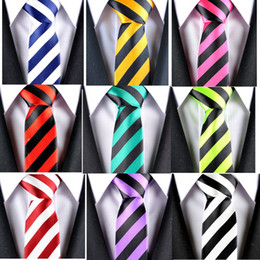Wholesale Order Neckties - 10pcs Good Quality New Style Black Wide Stripes Narrow Necktie England School Institute Fashion Men Ladies Neck Tie 5cm 10 Colors Mix Order