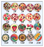 Wholesale Wholesale Sew Flower Embellishments - 60 X Mixed Flower Styles Wood Wooden Buttons 15mm 2 Holes Button Sewing DIY Round Embellishments Craft Tool