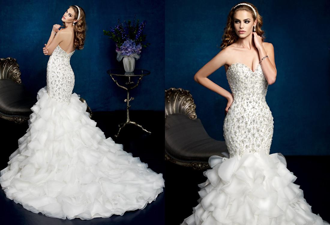 Strapless Mermaid Wedding Gown: Gorgeous Bride Wedding Dresses Beaded Strapless Sweetheart