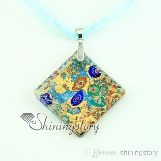 plaza brillo papel de millefiori Murano collares colgantes de cristal veneciano de joyería de moda al por mayor