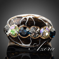 Cluster Rings painting elements - Amazing K Real Gold Plated Multicolour SWA ELEMENTS Austrian Crystal Oil Painting Pattern Ring Azora TR0093
