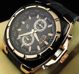 Tiras de silicona online-V6 Strips Hour Marks Dial redondo Golden Case Reloj de moda de cuarzo horas reloj de silicona analógico