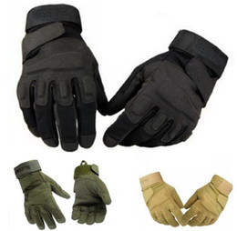 Wholesale Armed Motorcycle - Black Outdoor Full Finger Assault Soldier Camping Tactical Swat Airsoft Hunting Motorcycle Cycling Racing Riding Gloves Armed Mittens