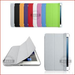 Venta al por mayor de FEDEX DHL Freeshipping 50 PC / lote PU Funda protectora de cuero Funda protectora de la cubierta de la cáscara inteligente para Apple iPad Mini multicolor