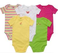 Wholesale Baby Bodysuits Short Sleeve - Retail Cotton Baby Bodysuits Baby Clothes NewBorn Short Sleeve Romper Toddler Bodysuit 5pcs lot Free Ship