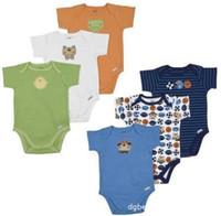 erkek kısa bodysuits toptan satış-Sıcak Satış Pamuk Bebek Erkek Bodysuits Bebek Giysileri Bebek Kısa Kollu Romper Babywear Toddler Tulumlar 5 adet / grup
