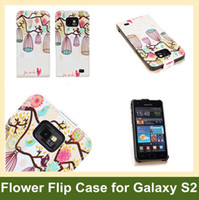Wholesale Tribe Flip Cover - Wholesale Fashion Bufferfly Flower Birdcage Tribe Style PU Leather Flip Cover Case for Samsung Galaxy S2 i9100 Free Shipping