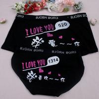 Wholesale Cute Sexy Underwear For Men - I love you cartoon couple cute underwear triangle cotton sexy underwear for men and women