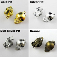 Wholesale Dull Gold - 100Pc lot Round Ball Pad Clip Hook On Earring findings Gold,Silver,Bronze,Dull Silver Plt