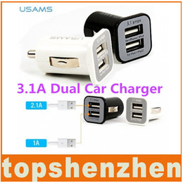 car double phone charger usb Canada - USAMS Micro 3.1A Double Dual USB Car Charger adapter For all IPhone ipod ipad samsung HTC all mobile phone smartphone