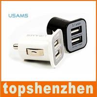 dual usb 3,1 зарядное устройство оптовых-USAMS 3.1 A 3100mha USB Dual Car Charger 5 В Dual 2 порта автомобильные зарядные устройства для iPad iPhone 5 5s iPod iTouch HTC Samsung