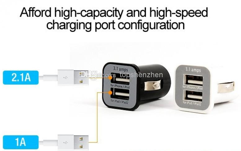 USAMS 3.1A 3100mha Chargeur voiture double USB 5V Chargeur voiture double 2 ports pour iPad iPhone 5 5S iPod iTouch HTC Samsung